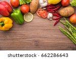 healthy food background  ... | Shutterstock . vector #662286643