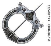 brooch fibula. medieval viking  ... | Shutterstock .eps vector #662309383