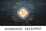 background with bitcoin in... | Shutterstock .eps vector #662319907