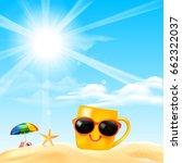 happy smile yellow mug cartoon... | Shutterstock .eps vector #662322037