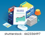 isometric business data report | Shutterstock .eps vector #662336497