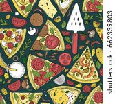 vector seamless pizza slice... | Shutterstock .eps vector #662339803