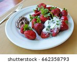 strawberry with chocolate on a... | Shutterstock . vector #662358793