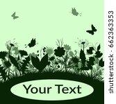 summer landscape  butterflies ... | Shutterstock .eps vector #662363353