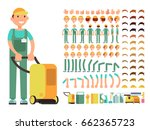 professional man cleaner in... | Shutterstock .eps vector #662365723