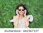 beautiful happy young woman... | Shutterstock . vector #662367157