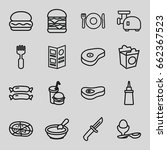 meal icons set. set of 16 meal... | Shutterstock .eps vector #662367523