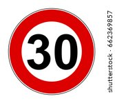 speed limit signs of 30 km  ... | Shutterstock .eps vector #662369857