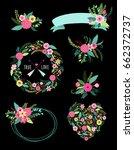 set of cute vintage elements as ... | Shutterstock . vector #662372737