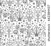 vector hand drawn seamless... | Shutterstock .eps vector #662384437