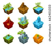 fantasy isometric islands with... | Shutterstock .eps vector #662401033