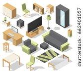 furniture set for bed room.... | Shutterstock .eps vector #662401057
