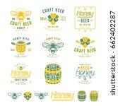 set of honey beer labels ...   Shutterstock .eps vector #662402287