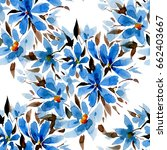 seamless pattern with blue... | Shutterstock . vector #662403667