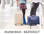 businessman hold luggage travel ... | Shutterstock . vector #662410117