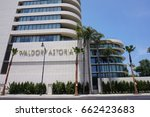 Small photo of LOS ANGELES, JUNE 3RD, 2017: Low angle shot of the facade of the highly anticipated and newly opened Waldorf Astoria Beverly Hills hotel in Beverly Hills, California.