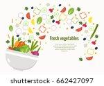 bowl of vegetables. vegetable... | Shutterstock .eps vector #662427097
