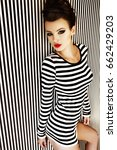 fashion woman in striped dress
