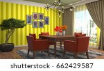 interior dining area. 3d... | Shutterstock . vector #662429587