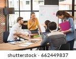 group of five creative worker... | Shutterstock . vector #662449837