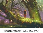 hiker with backpack standing on ... | Shutterstock . vector #662452597