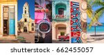 cuba  panoramic photo collage ...   Shutterstock . vector #662455057
