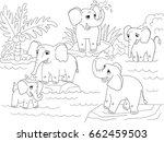 family of african elephants... | Shutterstock .eps vector #662459503