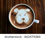 cute dog face latte art coffee...   Shutterstock . vector #662474383