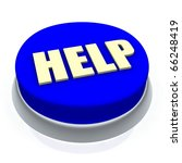 Help Round Button 3d. Isolated...