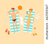 guy and the girl are lying on... | Shutterstock .eps vector #662505367