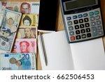 banknote many currency  yen... | Shutterstock . vector #662506453