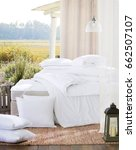 interior of white cozy bedroom. ... | Shutterstock . vector #662507107