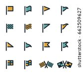 vector flat flag icons set on... | Shutterstock .eps vector #662509627