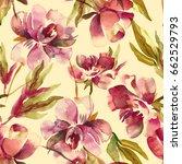 peonies seamless pattern.... | Shutterstock . vector #662529793