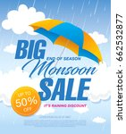 monsoon sale banner template... | Shutterstock .eps vector #662532877