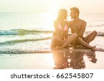 young couple in love kissing on ... | Shutterstock . vector #662545807