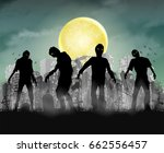 silhouette zombie with city... | Shutterstock .eps vector #662556457