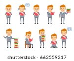 set of funny businessman posing ... | Shutterstock .eps vector #662559217
