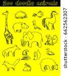 zoo animals vector doodle | Shutterstock .eps vector #662562307