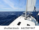 luxury yacht at sea race.... | Shutterstock . vector #662587447