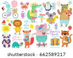 animals hand drawn style ... | Shutterstock .eps vector #662589217