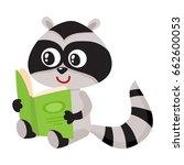 cute little raccoon student... | Shutterstock .eps vector #662600053