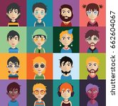 set of people avatars with faces | Shutterstock .eps vector #662604067