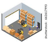 interior warehouse building... | Shutterstock . vector #662617993