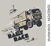 truck in jump. sketch style  | Shutterstock .eps vector #662620603