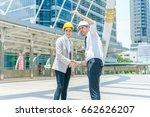 two engineer handshaking after... | Shutterstock . vector #662626207
