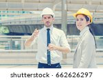 two engineer look to target at... | Shutterstock . vector #662626297