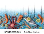 fresh tasty seafood served on... | Shutterstock . vector #662637613