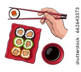 eating sushi   human hand with... | Shutterstock .eps vector #662643373