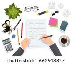 writing on paper sheet  ... | Shutterstock .eps vector #662648827